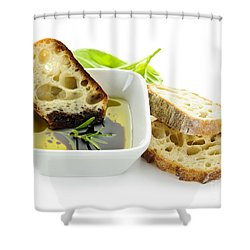 Bread Olive Oil And Vinegar Shower Curtain by Elena Elisseeva
