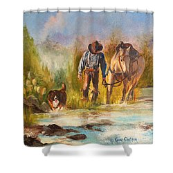 Shower Curtain featuring the painting Break For The Ride by Karen Kennedy Chatham