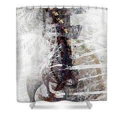 Shower Curtain featuring the digital art Breaking Bones by NirvanaBlues