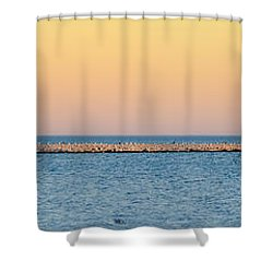 Shower Curtain featuring the photograph Breaking The Sunset by Steven Santamour