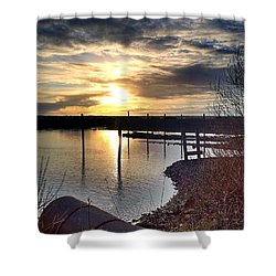 Shower Curtain featuring the photograph Breakwater Boat Dock Sunset by Chriss Pagani