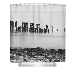 Breakwater Squared Shower Curtain by Anne Gilbert