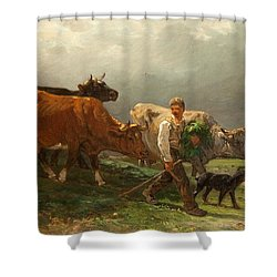 Breton Lad With Cattle Shower Curtain by Julius Caesar Ibbetson