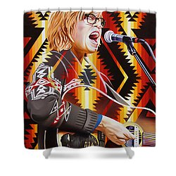 Shower Curtain featuring the painting Brett Dennen by Joshua Morton