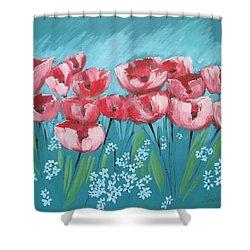 Brezzy Poppies Shower Curtain