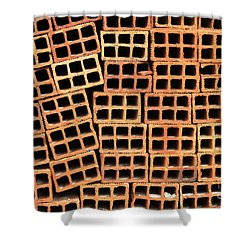 Brick Abstract Shower Curtain by Vivian Christopher