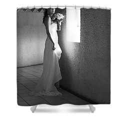 Bride At The Window I. Black And White Shower Curtain by Jenny Rainbow