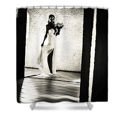 Bride. Black And White Shower Curtain by Jenny Rainbow