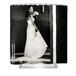 Bride I. Black And White Shower Curtain by Jenny Rainbow