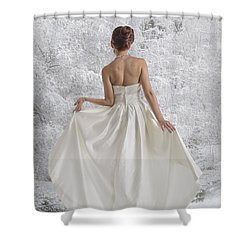 Bride In The Snow Shower Curtain by Angela A Stanton