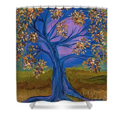 Bridesmaid Tree Blue Shower Curtain by First Star Art