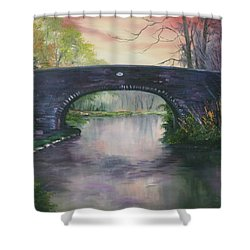 Shower Curtain featuring the painting Bridge 91 At Fradley Canal Staffordshire Uk by Jean Walker
