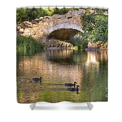 Shower Curtain featuring the photograph Bridge At Stow Lake by Kate Brown