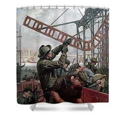 Bridge Construction 1909 Shower Curtain by Granger