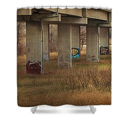 Shower Curtain featuring the photograph Bridge Graffiti by Patti Deters