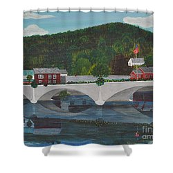 Bridge Of Flowers Shower Curtain by Sally Rice