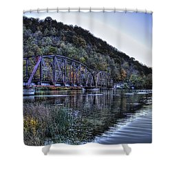 Bridge On A Lake Shower Curtain by Jonny D