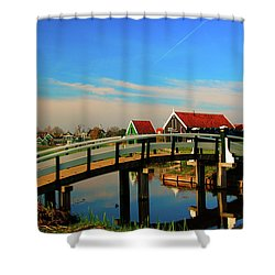 Bridge Over Calm Waters Shower Curtain by Jonah  Anderson
