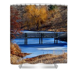 Shower Curtain featuring the photograph Bridge Over Icy Waters by Elizabeth Winter
