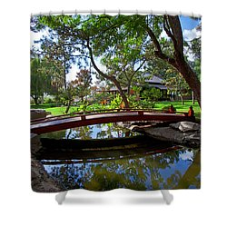 Shower Curtain featuring the photograph Bridge Over Japanese Gardens Tea House by Jerry Cowart