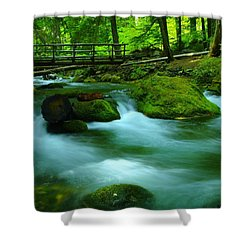 Bridge Over The Tananamawas Shower Curtain by Jeff Swan