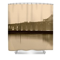 Bridge Reflection In Sepia Shower Curtain
