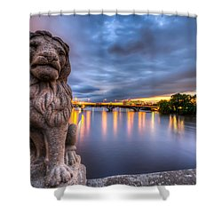Bridge To Czech Village In Cedar Rapids At Sunset Shower Curtain