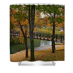 Shower Curtain featuring the photograph Bridge To Fall by Elizabeth Winter