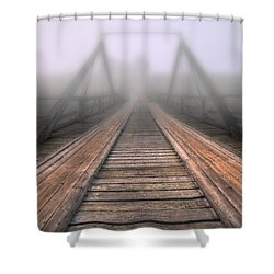 Bridge To Fog Shower Curtain by Veikko Suikkanen