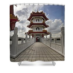 Bridge To Pagoda At Chinese Garden Shower Curtain by David Gn