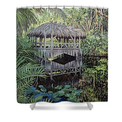 Bridge To Paradise Shower Curtain by Danielle  Perry