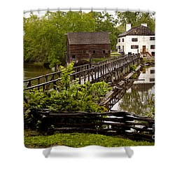 Shower Curtain featuring the photograph Bridge To Philipsburg Manor Mill House by Jerry Cowart