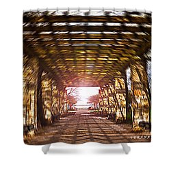 Shower Curtain featuring the photograph Bridge To The Light From The Series The Imprint Of Man In Nature by Verana Stark