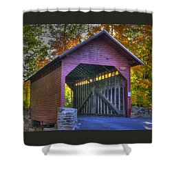 Bridge To The Past Roddy Road Covered Bridge-a1 Autumn Frederick County Maryland Shower Curtain by Michael Mazaika