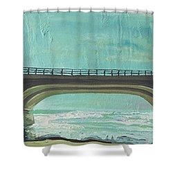 Bridge Where Waters Meet Shower Curtain by Joseph Demaree
