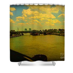 Shower Curtain featuring the photograph Bridge With Puffy Clouds by Miriam Danar