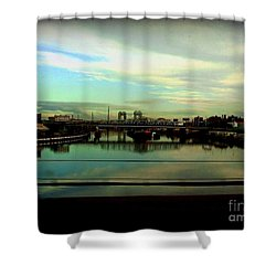 Shower Curtain featuring the photograph Bridge With White Clouds by Miriam Danar