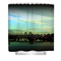 Shower Curtain featuring the photograph Bridge With White Clouds Vignette by Miriam Danar