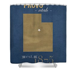 Brigham Young University Cougars Provo Utah College Town State Map Poster Series No 023 Shower Curtain by Design Turnpike