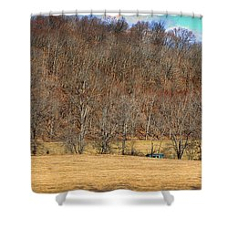 Bright Blue Shed Shower Curtain by Paulette B Wright