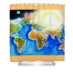 Bright Blue World Map In Watercolor With Sunshine And Moon  Shower Curtain by Kip DeVore