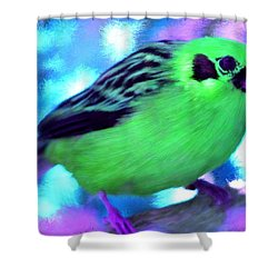 Bright Green Finch Shower Curtain