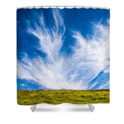 Bright Green Meadow And Deep Blue Sky Shower Curtain by Matthias Hauser