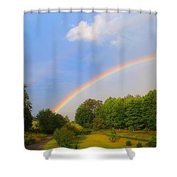 Shower Curtain featuring the photograph Bright Rainbow by Kathryn Meyer