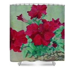 Red Flowers Art Brilliant Petunias Bright Floral  Shower Curtain by Elizabeth Sawyer
