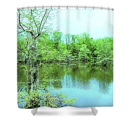 Bright Green Mill Pond Reflections Shower Curtain