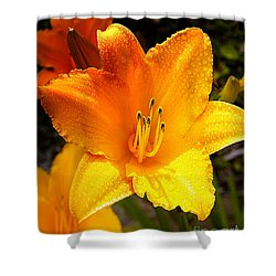 Bright Yellow Daylily Flower Shower Curtain