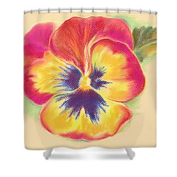 Shower Curtain featuring the pastel Brightly Colored Pansy by MM Anderson