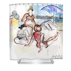 Brighton Beach On A Windy Day Shower Curtain