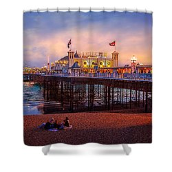 Shower Curtain featuring the photograph Brighton's Palace Pier At Dusk by Chris Lord